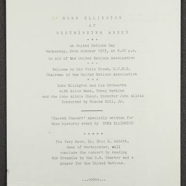 Duke Ellington Orchestra 'Sacred Concert' – Westminster  Abbey 24th   October 1973 002