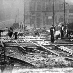 Laying track for the electric tramway