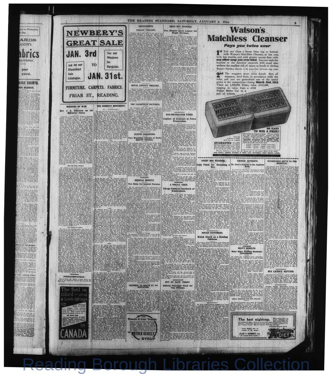 Reading Standard, Saturday, January 3, 1914. Pg 3