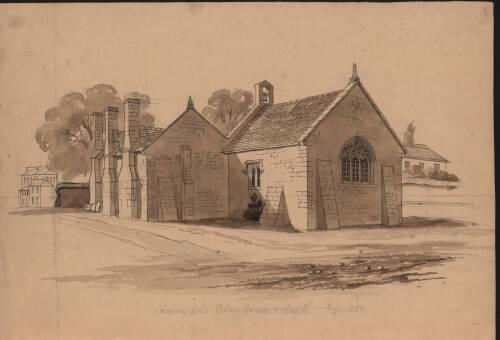 Livery Dole Almshouses & chapel, c1840, Exeter