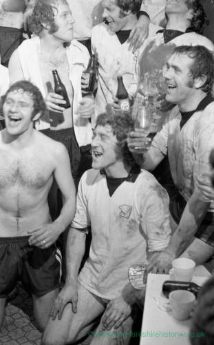 Hereford United players celebrating after the Newcastle cup win, Feb 1972.