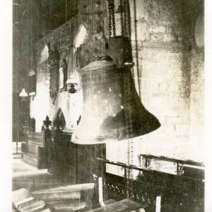 Fownhope Church bell in spire under repair, 1933