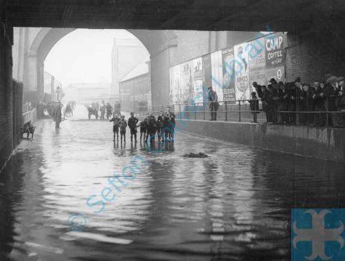 Violet Road Bridge during flooding, Bootle, 1933