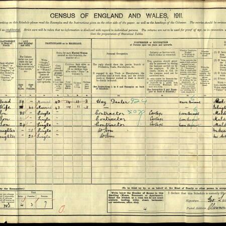 Census 1911 Claremont Cottages