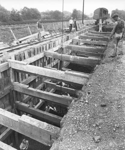 Open cut excavation near manhole number 9