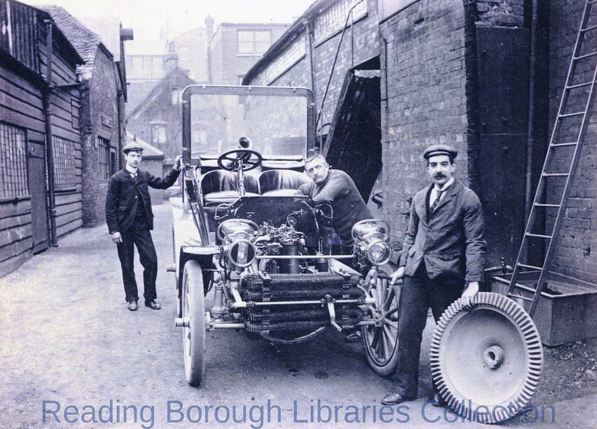 An early motor car in the yard of the Yield Hall Foundry, Yield Hall Lane, Reading, c1910., run by John Wilder
