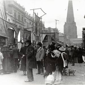 Crowds admiring the stalls at the May Fair, Broad Street, Hereford, c.1895