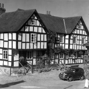 Black and white buildings in Eardisland, Herefordshire.