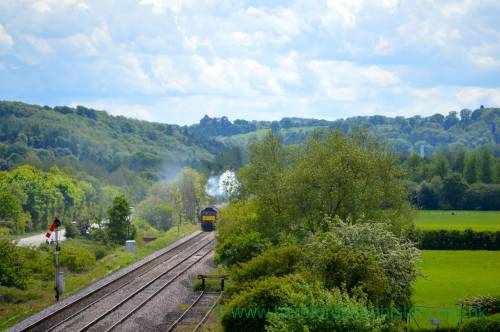 AM06 Flying Scotsman from A44 A49 bridge, Leominster, 19th May 2017.jpg