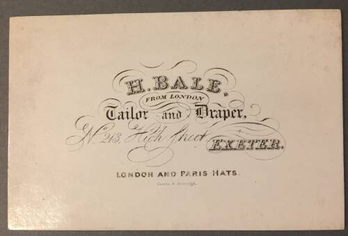 H. Bale, Tailor and Draper, 213 High Street, Exeter, 19th century