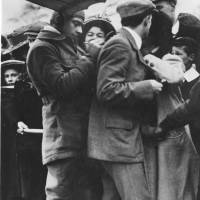 Famous pioneer aviator Claude Graham-White signing autographs at Rugby, 1910