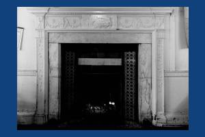 Fireplace in the Rates Office, ground floor, Morden Hall, Morden
