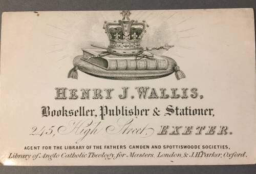 Henry J. Wallis, Bookseller, publishers, Stationer, 245 High Street, Exeter, 19th Century