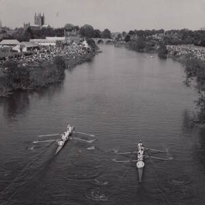 A rowing regatta on the River Wye Hereford.
