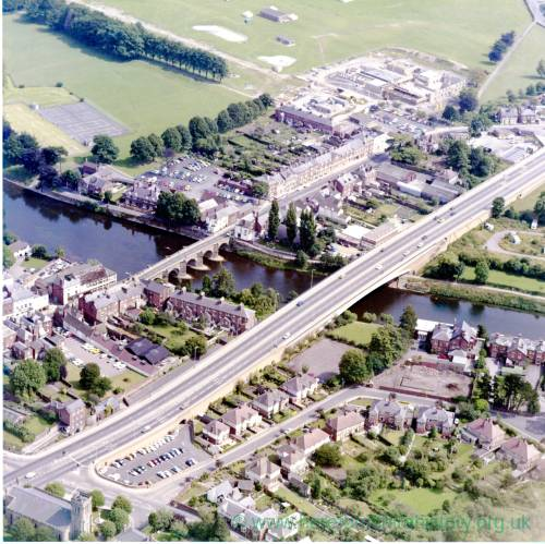 River Wye Bridges in Hereford, aerial view c1976