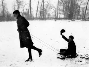 John and Allen Francis pictured sledging