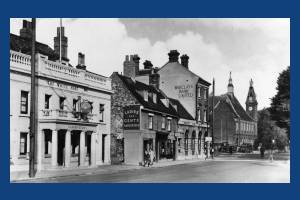 London Road: Town Hall and The Wite Hart Inn, Mitcham