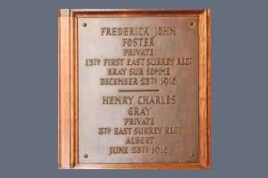 Memorial Plaque - Foster and Gray