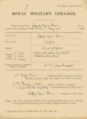 RMC Form 18A Personal Detail Sheets May 1915 Intake - page 13