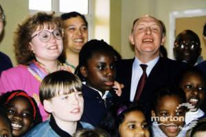 Neil Kinnock and Siobhan McDonagh at Bond School, Mitcham