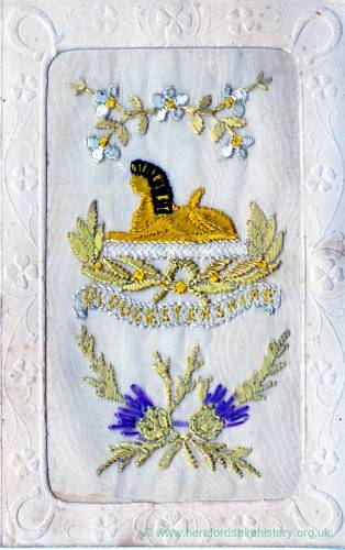 Gloucestershire Regiment embroidered postcard - front