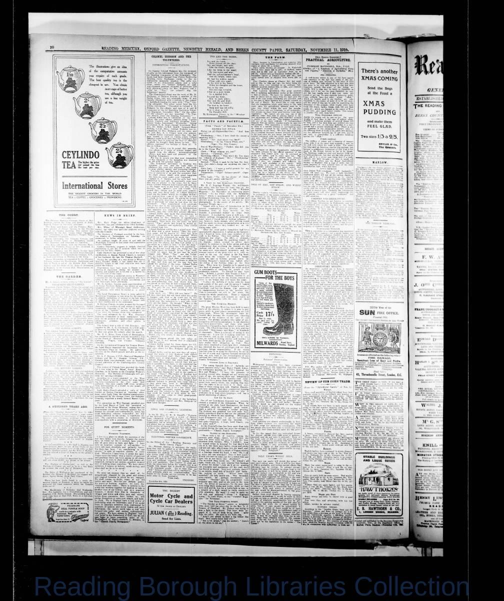 Reading Mercury Oxford Gazette Saturday, November 11, 1916. Pg 10