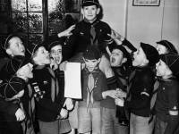 Cub Bewes celebrates being awarded a cub badge