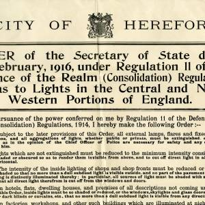 Regulation 11 defence of the realm (consolidation) regulations 1914 poster - lights in the central and north western portions of England - Part 1