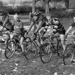 Cyclists lining up for a cross country event.