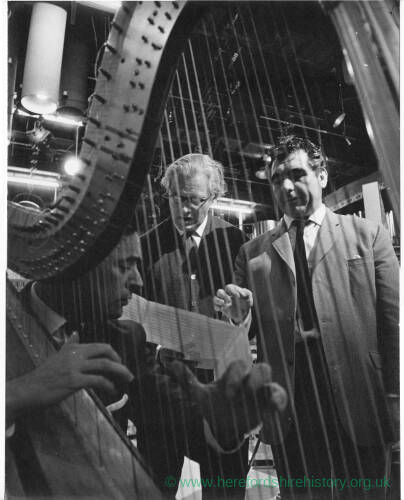 252 - Man playing harp in TV studio