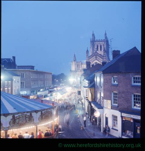 Hereford May Fair at dusk in King Street, Hereford.