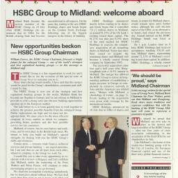 Front cover of a special edition of the 'Group News' magazine, issued in August 1992, to announce the acquisition of Midland Bank (now HSBC UK)