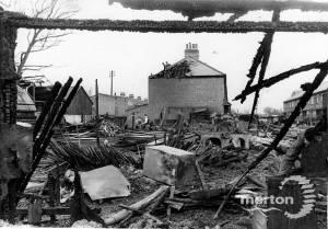Fire at Lines' Sawmills, Church Road, Mitcham