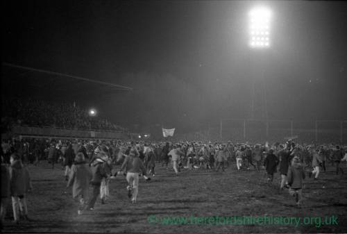 Hereford United supporters celebrating home 0-0 draw against West Ham, Feb 1972