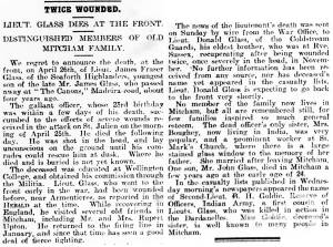 Newspaper Extract - James Fraser Glass