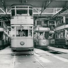 Trams in Car Sheds in Dean Road