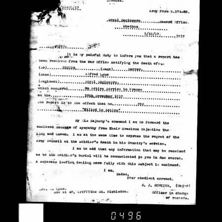 Letter notifying the death in action of Alfred Lyne