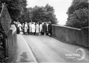 Humpback bridge over rail line near Mitcham Junction