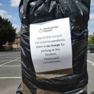 Short stay car park notice, St Katherines Car Park, Ledbury, April 2020