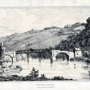 Whitney Bridge, Herefordshire, print by I G Wood, 1815
