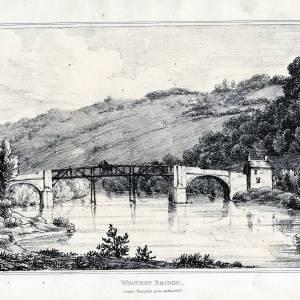 Whitney Bridge, Herefordshire, print by I G Wood, 1815