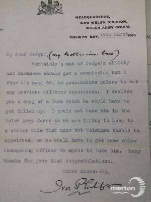 Letter regarding the possible Commisson of Cecil Bertie Gedge