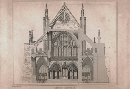 Section of the east end, at the altar, Exeter Cathedral, 1825, Exeter