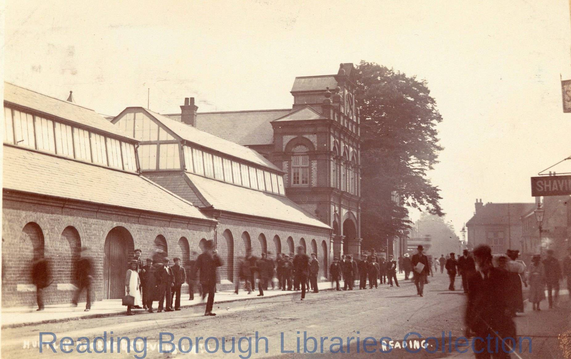 The factory of Huntley, Boorne and Stevens, tin plate workers, in Crown Street, Reading, c1905