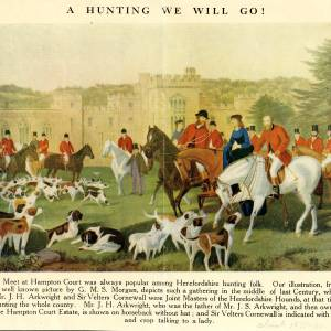 Hunt meeting at Hampton Court, Herefordshire, colour print, mid C18