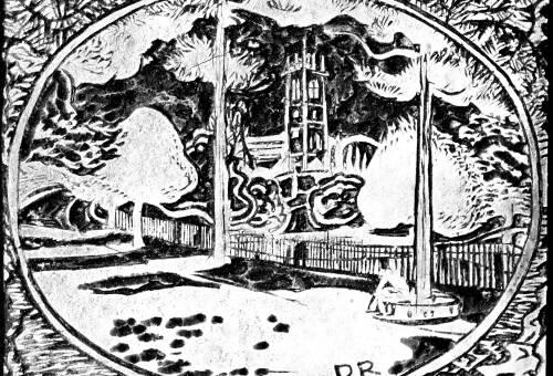 Lino print of Lymm Church by Dorothea Rowlinson