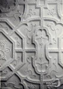 Eagle House: Moulded ceiling in library
