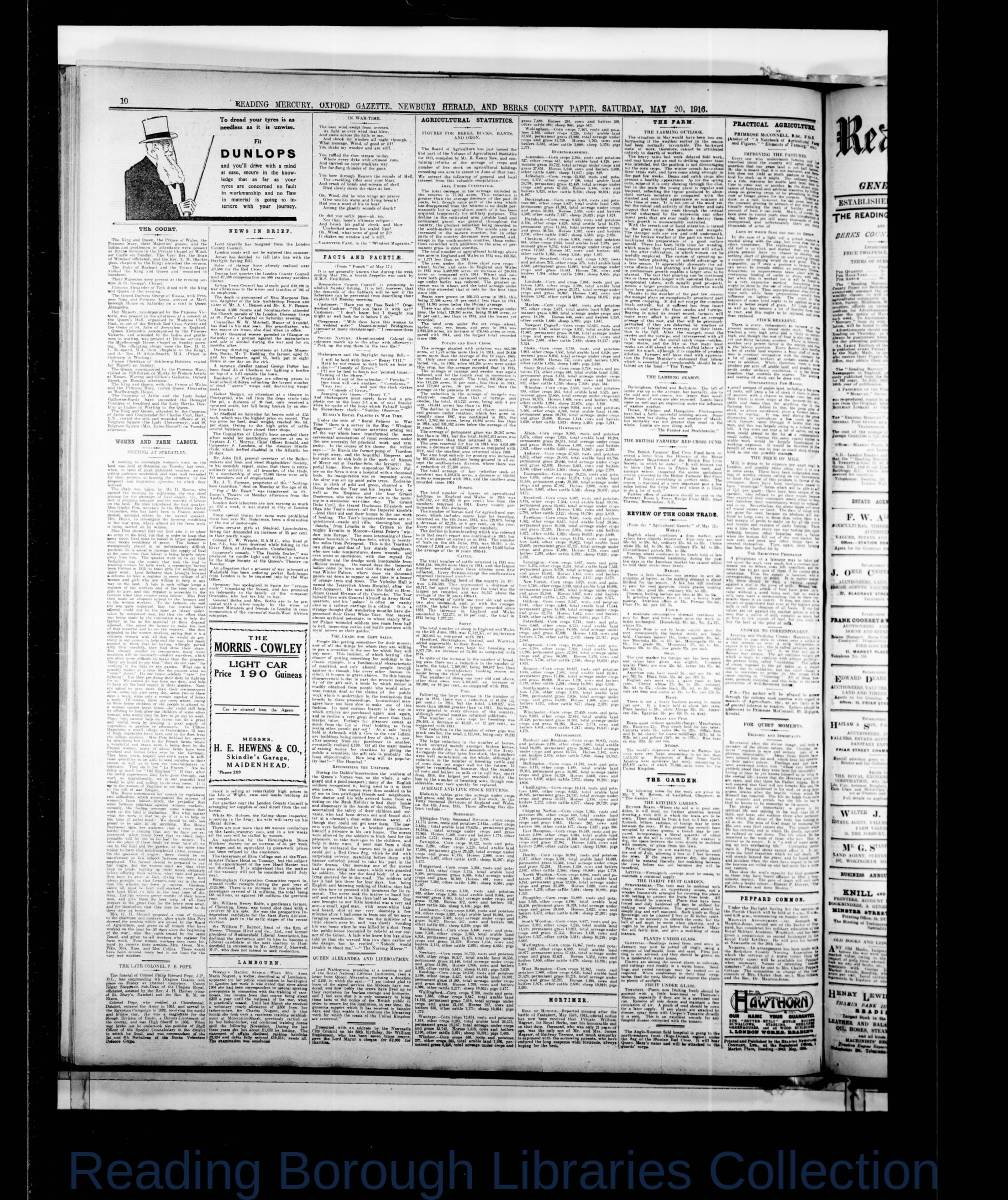 Reading Mercury Oxford Gazette  Saturday, May 20, 1916. Pg 10