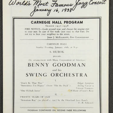 Benny Goodman & his Swing Orchestra, Carnegie Hall - January 16th 1938