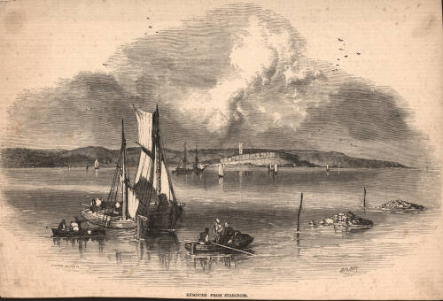 Exmouth from Starcross, 1851, Exmouth